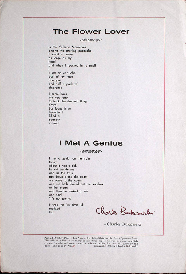 The Flower Lover/I Met A Genius broadside